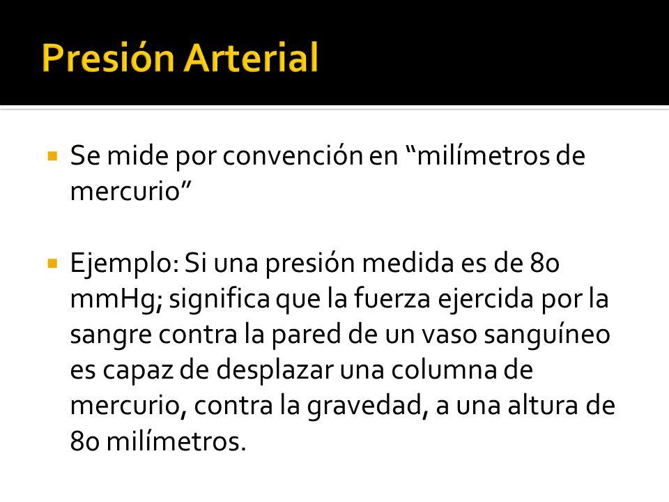 Presión Arterial Se mide por convención en milímetros de mercurio