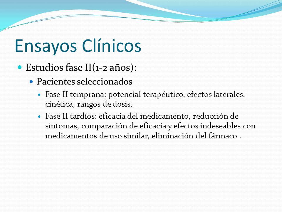 Ensayos Clínicos Estudios fase II(1-2 años): Pacientes seleccionados