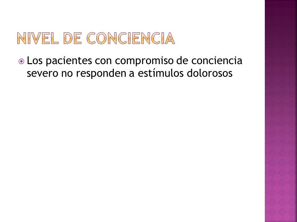 Nivel de conciencia Los pacientes con compromiso de conciencia severo no responden a estímulos dolorosos.