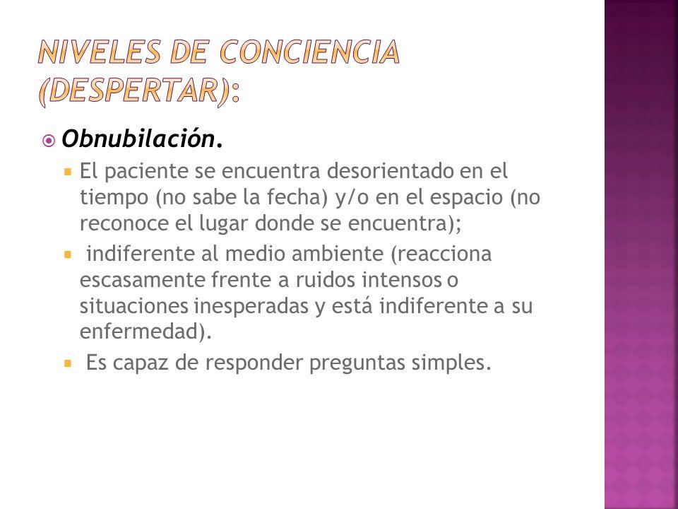 Niveles de conciencia (despertar):