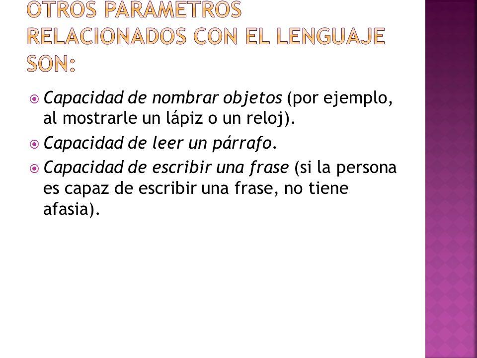 Otros parámetros relacionados con el lenguaje son: