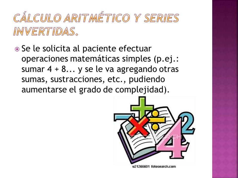 Cálculo aritmético y series invertidas.