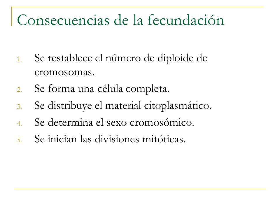 Consecuencias de la fecundación