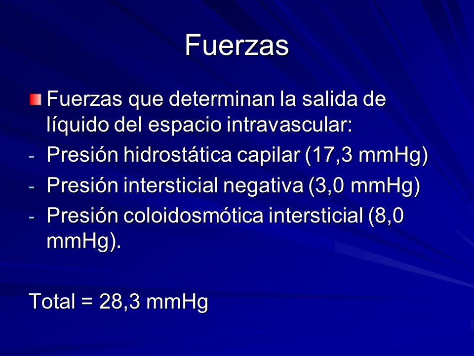Fuerzas Fuerzas que determinan la salida de líquido del espacio intravascular: Presión hidrostática capilar (17,3 mmHg)