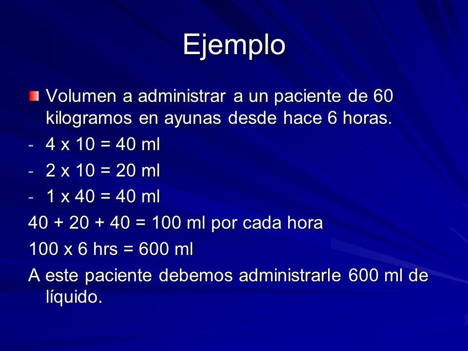 Ejemplo Volumen a administrar a un paciente de 60 kilogramos en ayunas desde hace 6 horas. 4 x 10 = 40 ml.