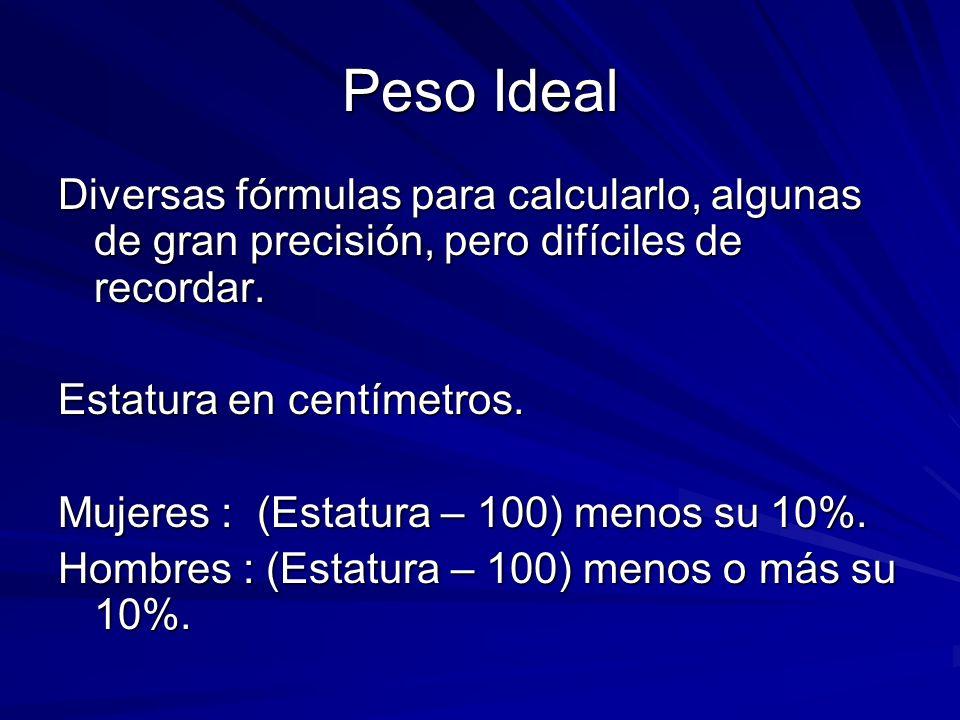 Peso Ideal Diversas fórmulas para calcularlo, algunas de gran precisión, pero difíciles de recordar.