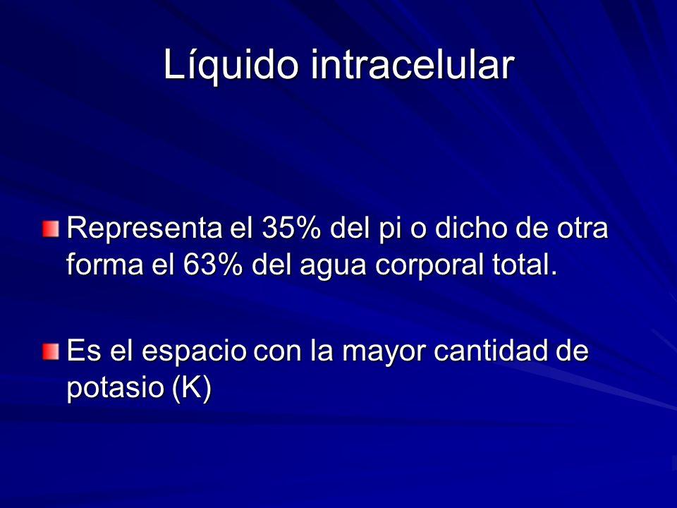 Líquido intracelular Representa el 35% del pi o dicho de otra forma el 63% del agua corporal total.