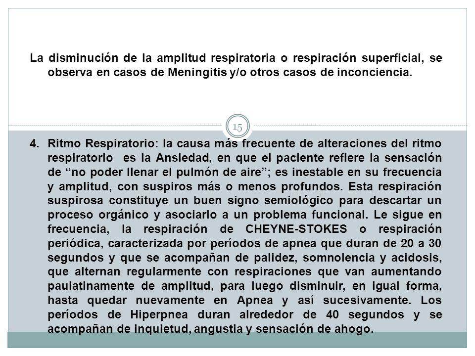 La disminución de la amplitud respiratoria o respiración superficial, se observa en casos de Meningitis y/o otros casos de inconciencia.