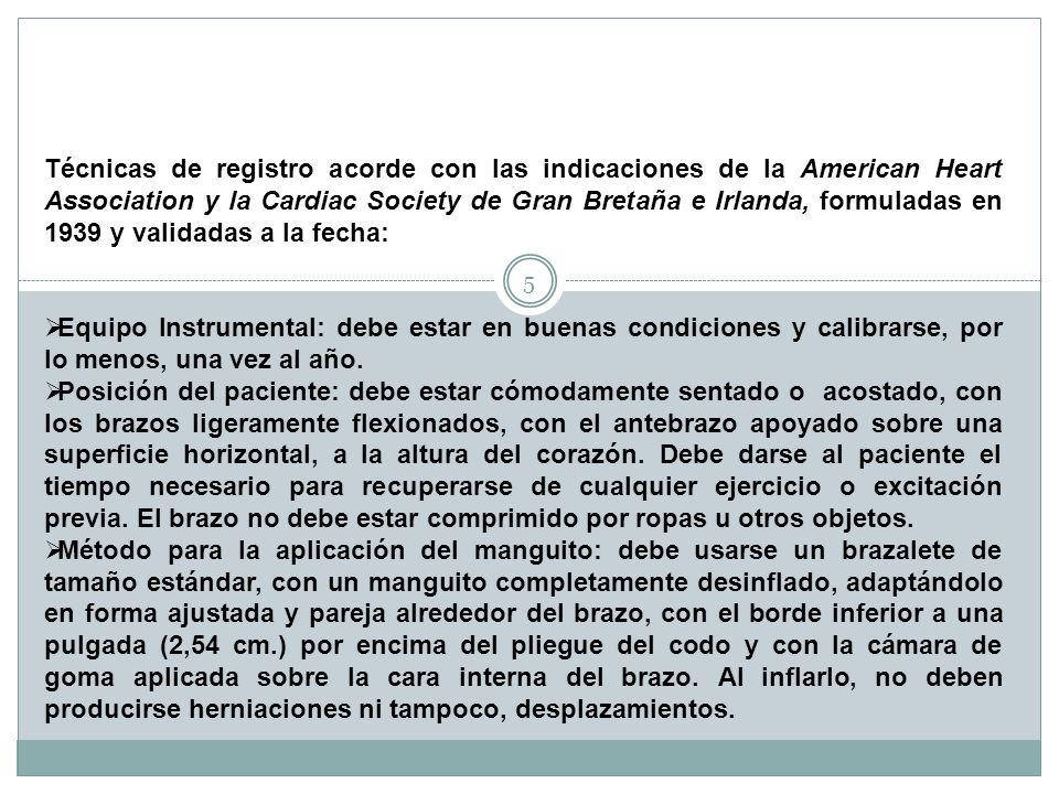 Técnicas de registro acorde con las indicaciones de la American Heart Association y la Cardiac Society de Gran Bretaña e Irlanda, formuladas en 1939 y validadas a la fecha: