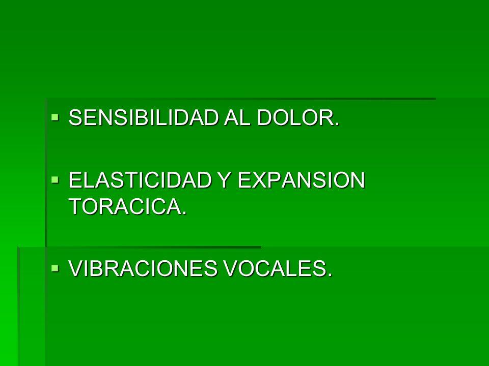 SENSIBILIDAD AL DOLOR. ELASTICIDAD Y EXPANSION TORACICA. VIBRACIONES VOCALES.