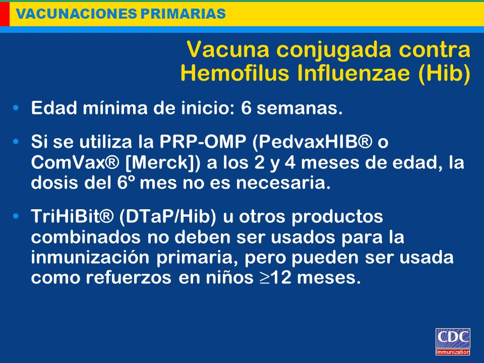 Vacuna conjugada contra Hemofilus Influenzae (Hib)