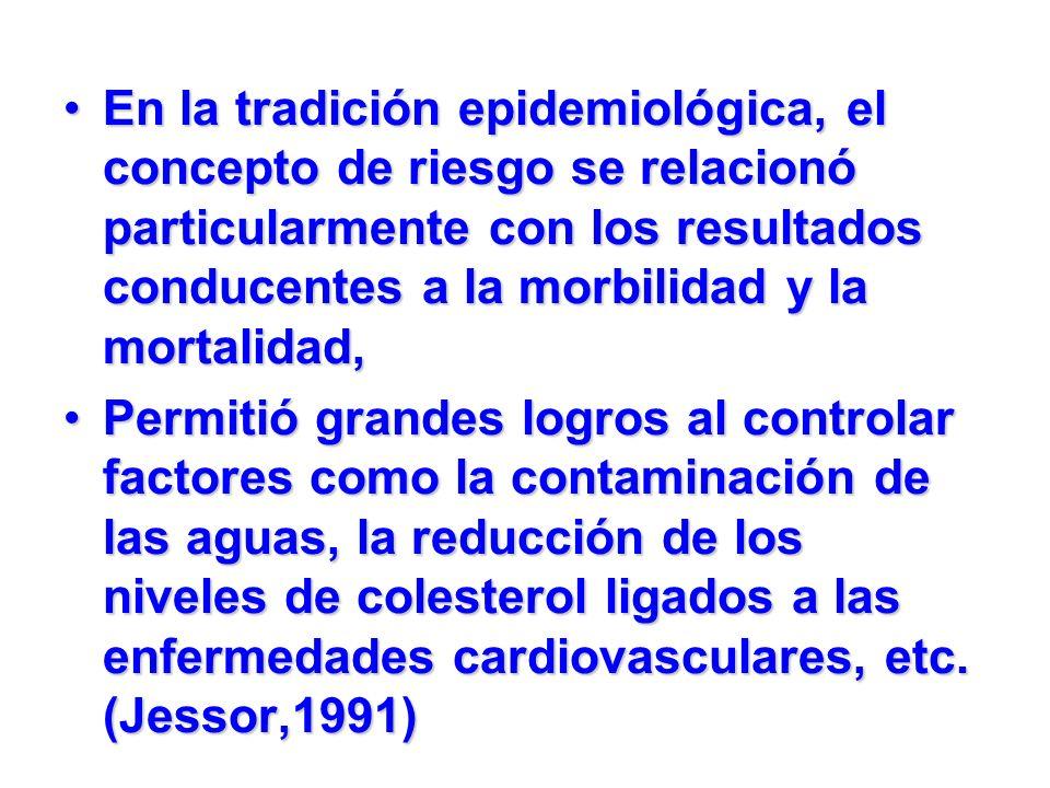 En la tradición epidemiológica, el concepto de riesgo se relacionó particularmente con los resultados conducentes a la morbilidad y la mortalidad,