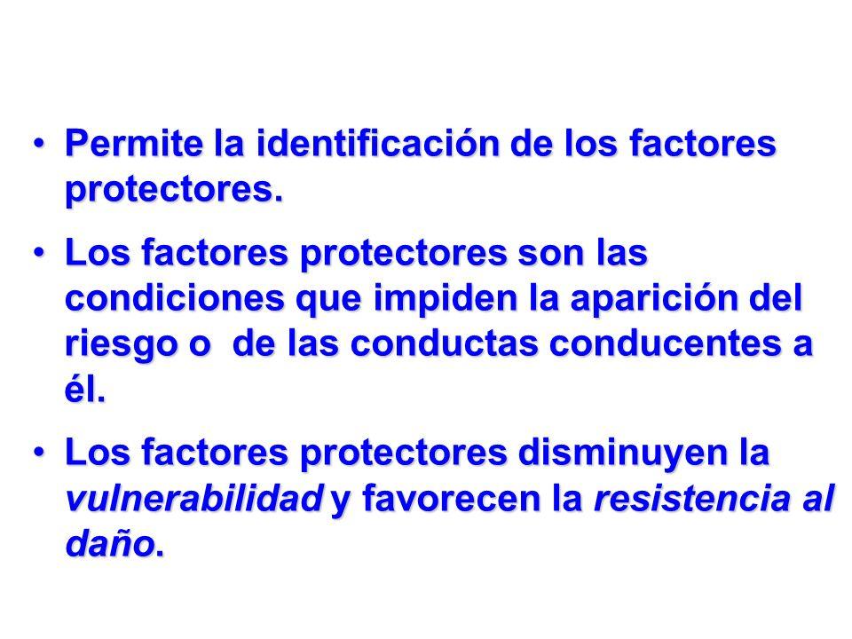 Permite la identificación de los factores protectores.