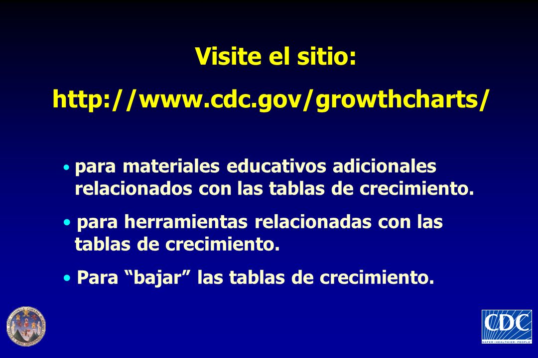 Visite el sitio: http://www.cdc.gov/growthcharts/