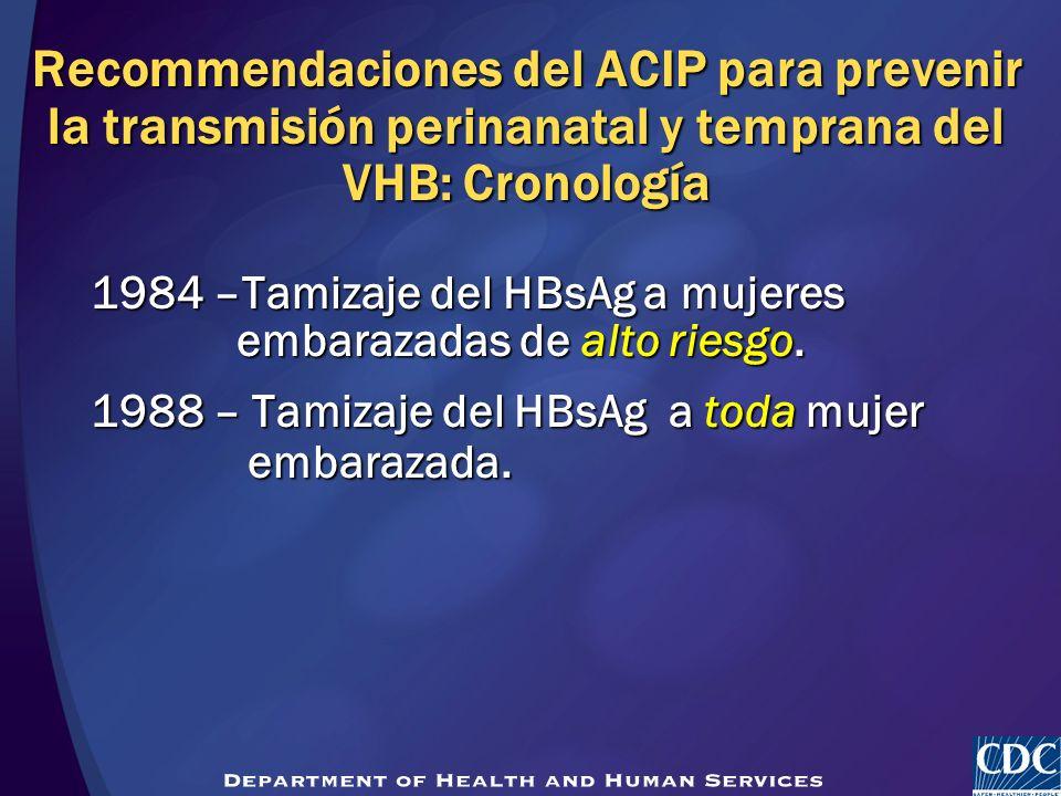 Recommendaciones del ACIP para prevenir la transmisión perinanatal y temprana del VHB: Cronología