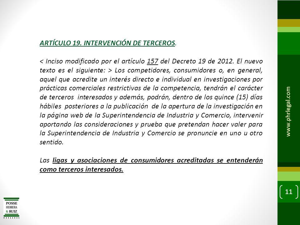 ARTÍCULO 19. INTERVENCIÓN DE TERCEROS.