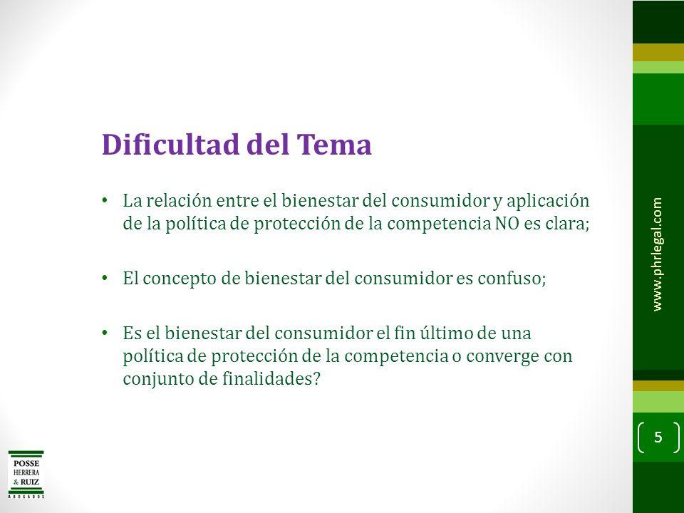 Dificultad del Tema La relación entre el bienestar del consumidor y aplicación de la política de protección de la competencia NO es clara;