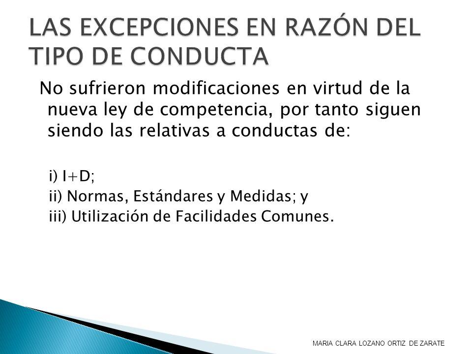 LAS EXCEPCIONES EN RAZÓN DEL TIPO DE CONDUCTA