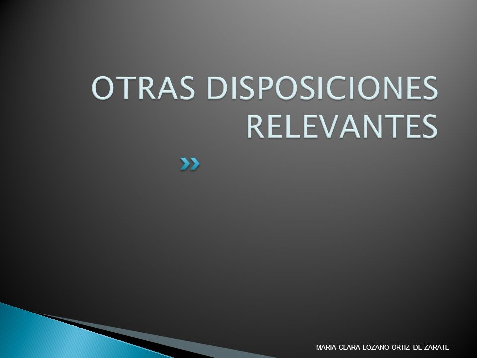 OTRAS DISPOSICIONES RELEVANTES