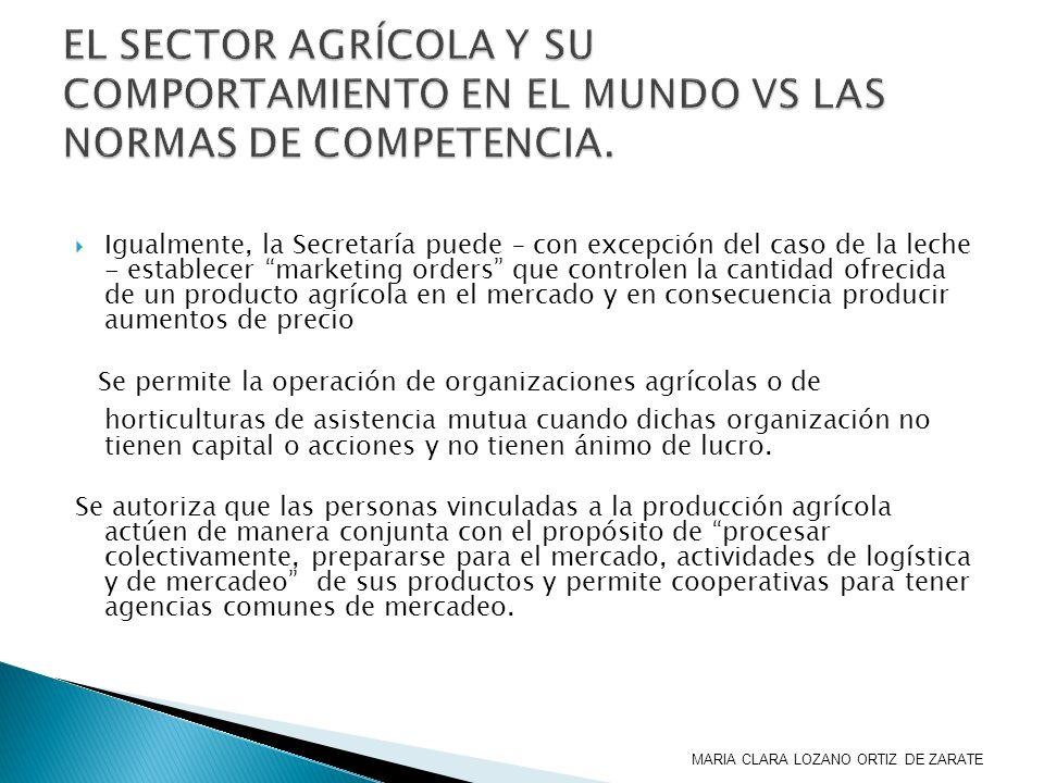 EL SECTOR AGRÍCOLA Y SU COMPORTAMIENTO EN EL MUNDO VS LAS NORMAS DE COMPETENCIA.