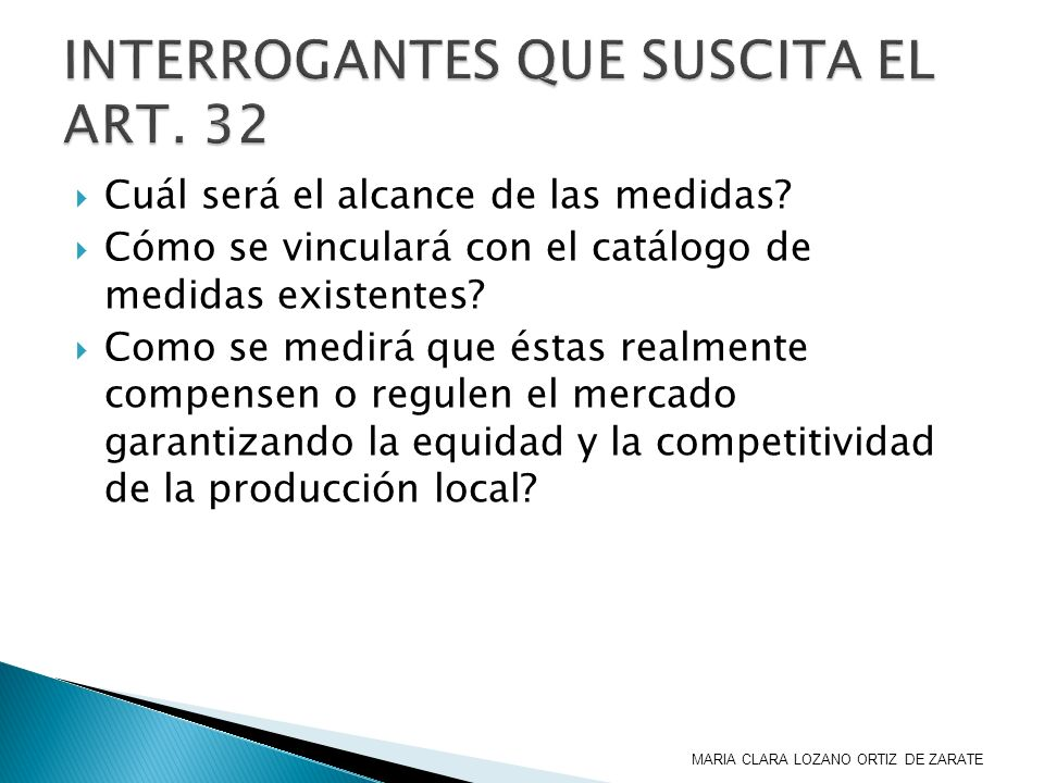 INTERROGANTES QUE SUSCITA EL ART. 32