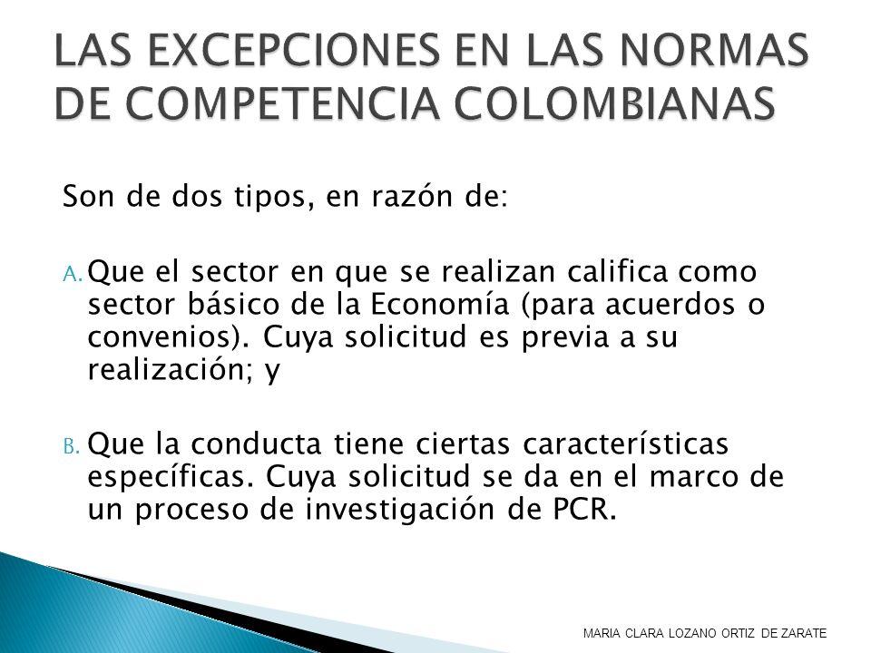 LAS EXCEPCIONES EN LAS NORMAS DE COMPETENCIA COLOMBIANAS