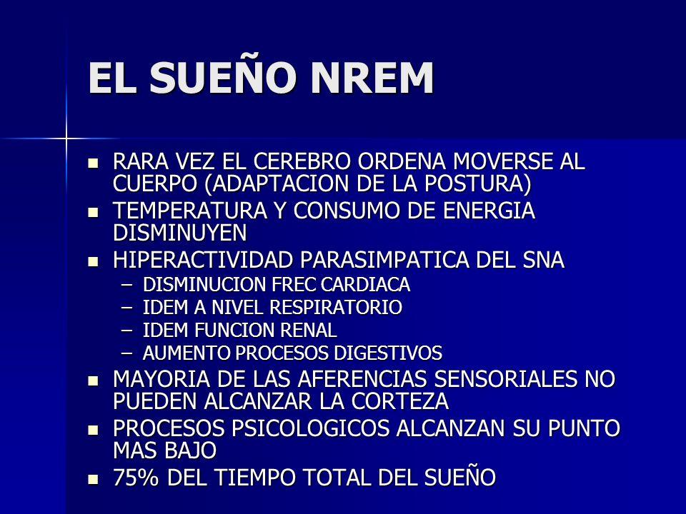 EL SUEÑO NREMRARA VEZ EL CEREBRO ORDENA MOVERSE AL CUERPO (ADAPTACION DE LA POSTURA) TEMPERATURA Y CONSUMO DE ENERGIA DISMINUYEN.