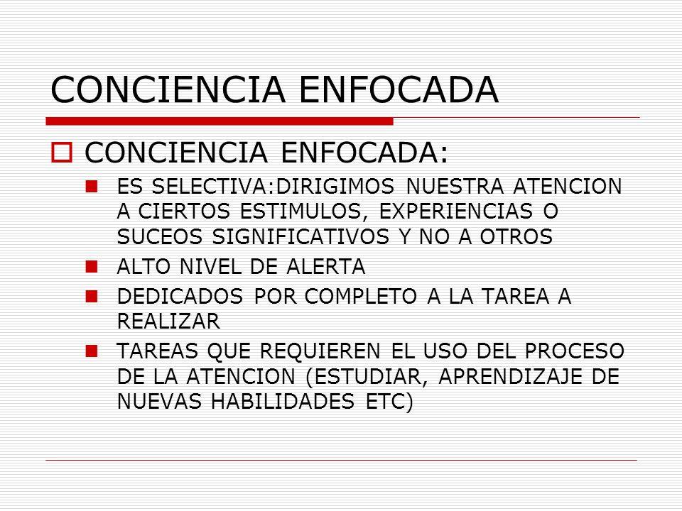 CONCIENCIA ENFOCADA CONCIENCIA ENFOCADA:
