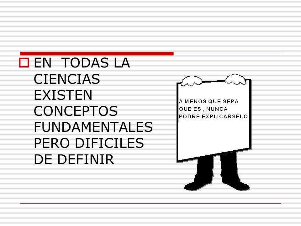 EN TODAS LA CIENCIAS EXISTEN CONCEPTOS FUNDAMENTALES PERO DIFICILES DE DEFINIR