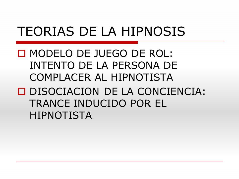 TEORIAS DE LA HIPNOSIS MODELO DE JUEGO DE ROL: INTENTO DE LA PERSONA DE COMPLACER AL HIPNOTISTA.