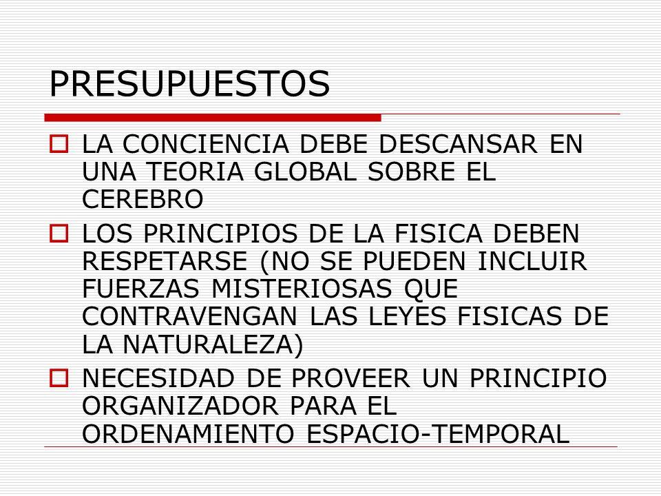 PRESUPUESTOS LA CONCIENCIA DEBE DESCANSAR EN UNA TEORIA GLOBAL SOBRE EL CEREBRO.