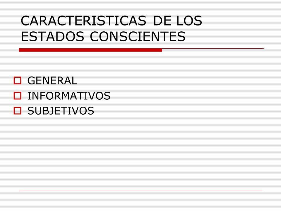 CARACTERISTICAS DE LOS ESTADOS CONSCIENTES