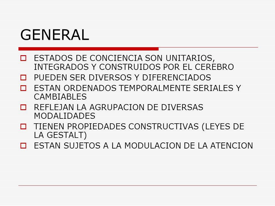 GENERAL ESTADOS DE CONCIENCIA SON UNITARIOS, INTEGRADOS Y CONSTRUIDOS POR EL CEREBRO. PUEDEN SER DIVERSOS Y DIFERENCIADOS.