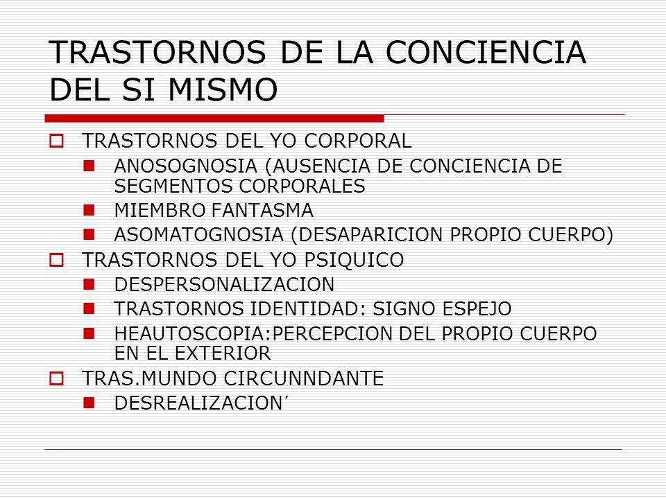TRASTORNOS DE LA CONCIENCIA DEL SI MISMO