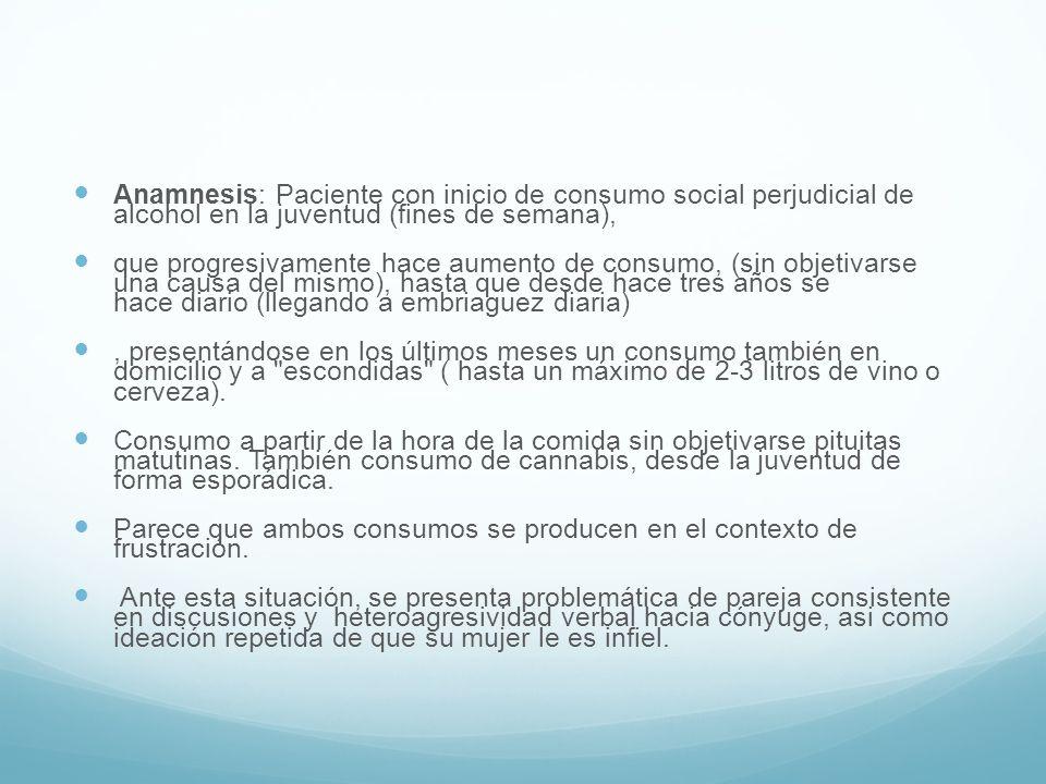Anamnesis: Paciente con inicio de consumo social perjudicial de alcohol en la juventud (fines de semana),
