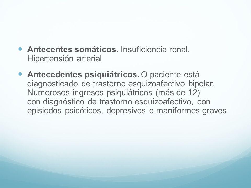 Antecentes somáticos. Insuficiencia renal. Hipertensión arterial