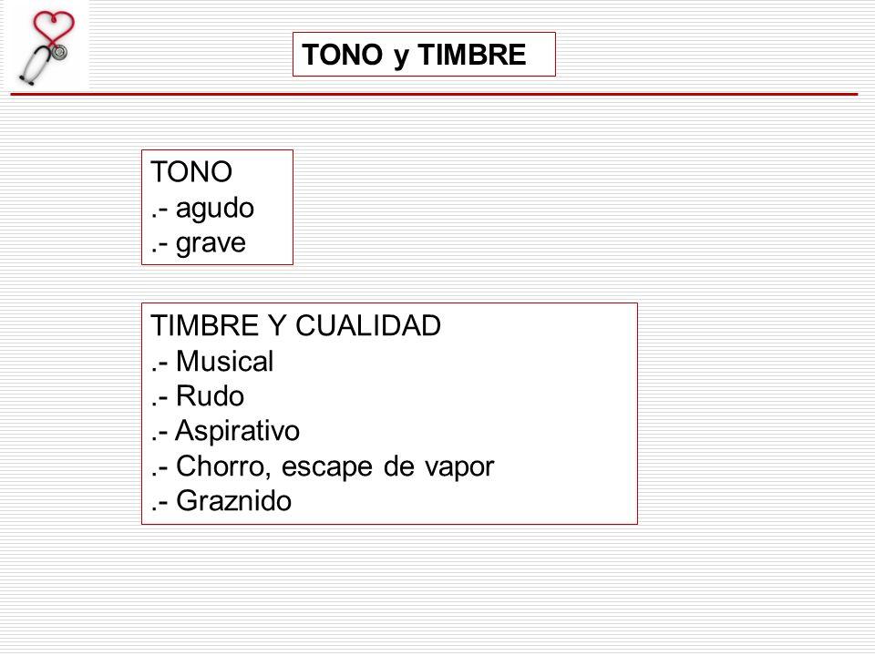 TONO y TIMBRE TONO. .- agudo. .- grave. TIMBRE Y CUALIDAD. .- Musical. .- Rudo. .- Aspirativo.