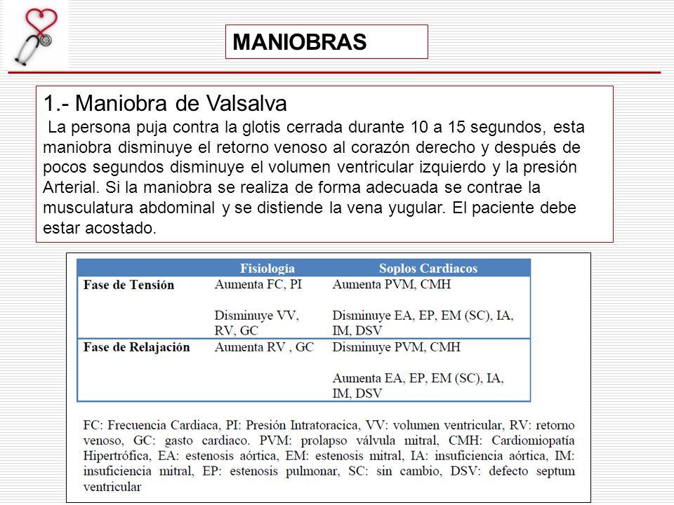 MANIOBRAS 1.- Maniobra de Valsalva