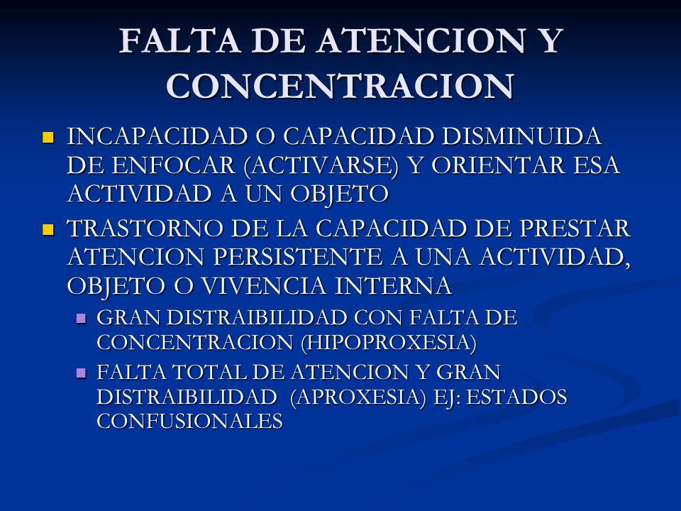FALTA DE ATENCION Y CONCENTRACION