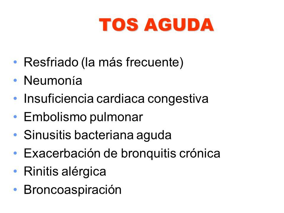 TOS AGUDA Resfriado (la más frecuente) Neumonía