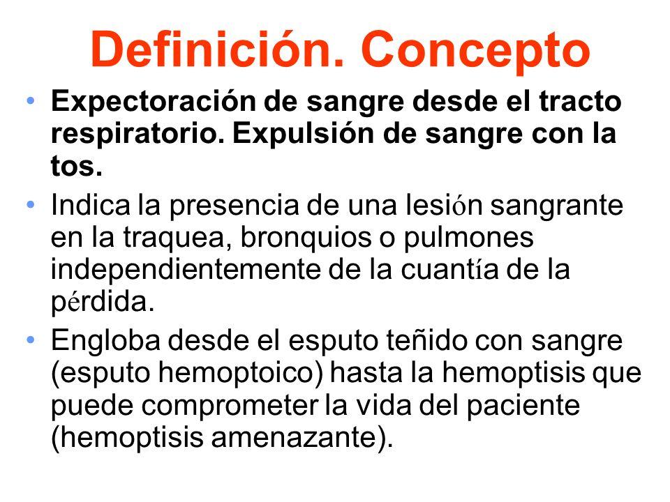 Definición. ConceptoExpectoración de sangre desde el tracto respiratorio. Expulsión de sangre con la tos.