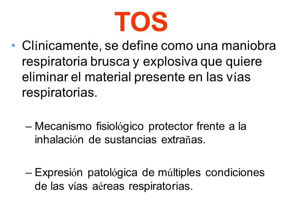 TOS Clínicamente, se define como una maniobra respiratoria brusca y explosiva que quiere eliminar el material presente en las vías respiratorias.