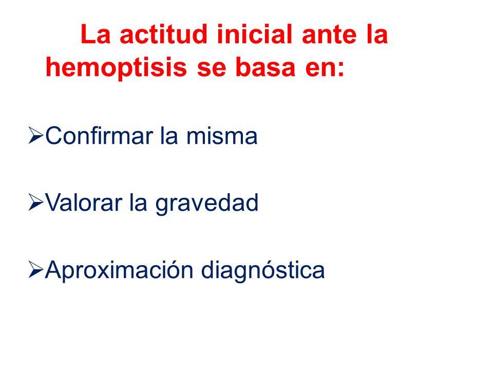 La actitud inicial ante la hemoptisis se basa en: