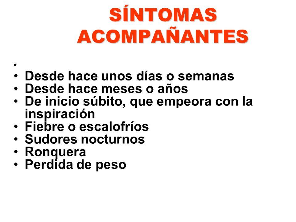 SÍNTOMAS ACOMPAÑANTES