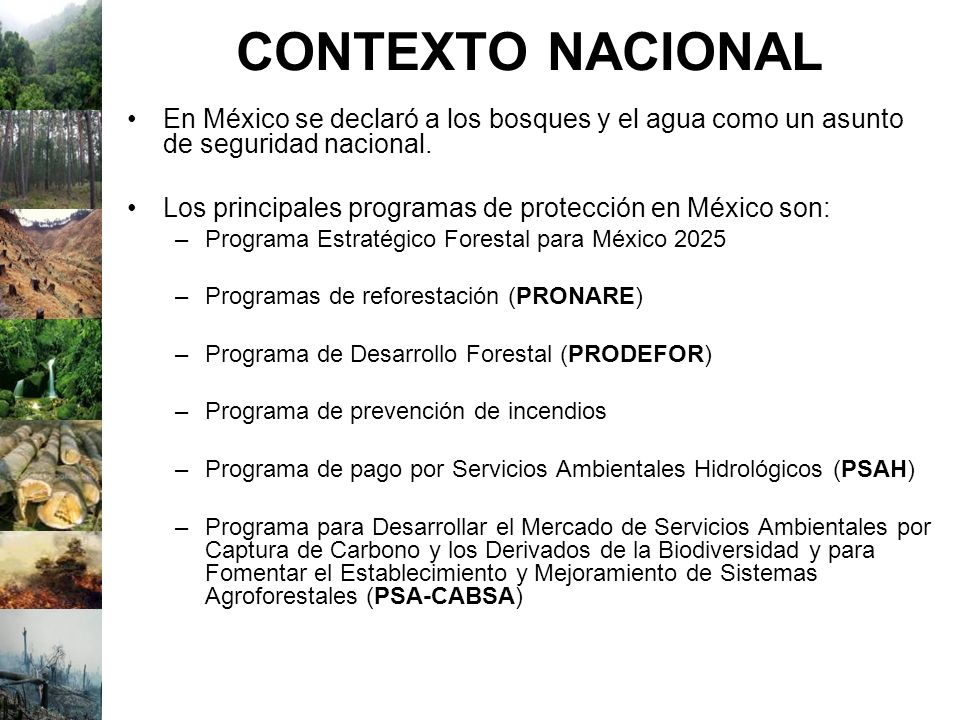 CONTEXTO NACIONAL En México se declaró a los bosques y el agua como un asunto de seguridad nacional.