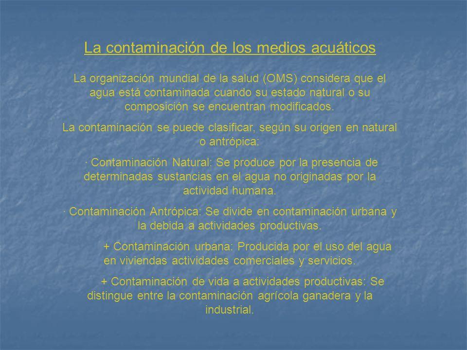 La contaminación de los medios acuáticos