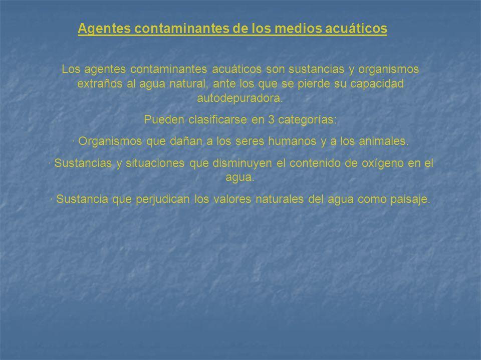 Agentes contaminantes de los medios acuáticos