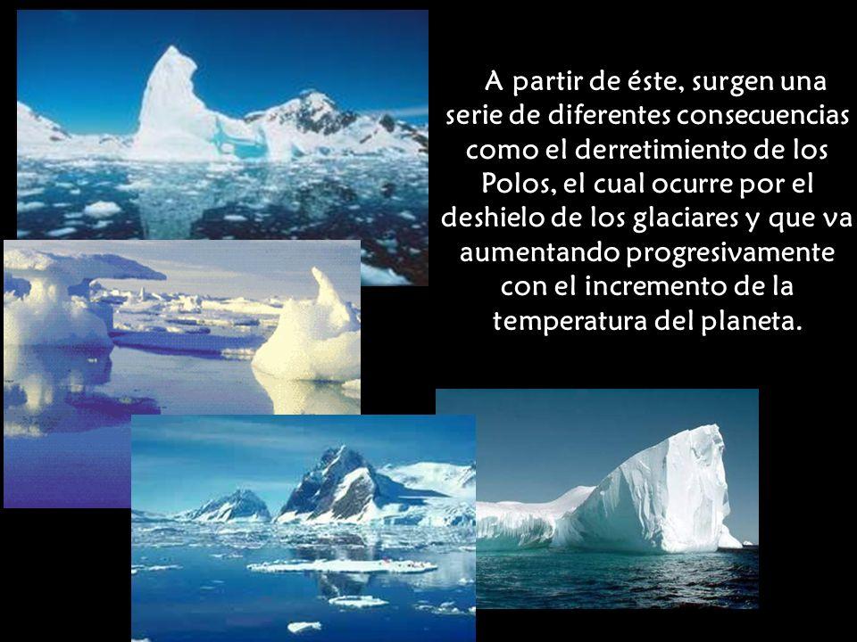 A partir de éste, surgen una serie de diferentes consecuencias como el derretimiento de los Polos, el cual ocurre por el deshielo de los glaciares y que va aumentando progresivamente con el incremento de la temperatura del planeta.