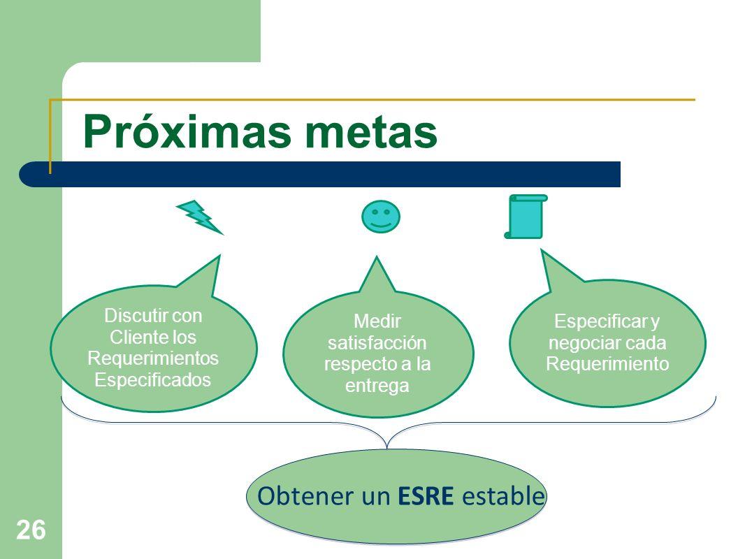 Próximas metasEspecificar y negociar cada Requerimiento. Discutir con Cliente los Requerimientos Especificados.
