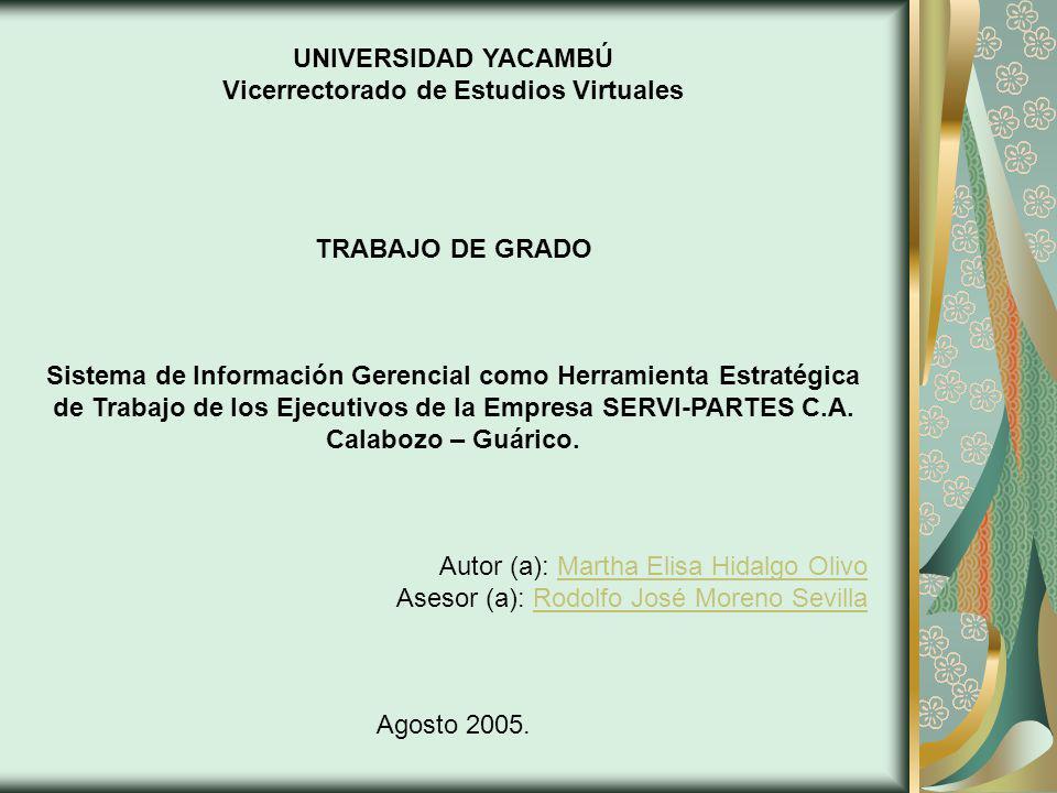 UNIVERSIDAD YACAMBÚ Vicerrectorado de Estudios Virtuales